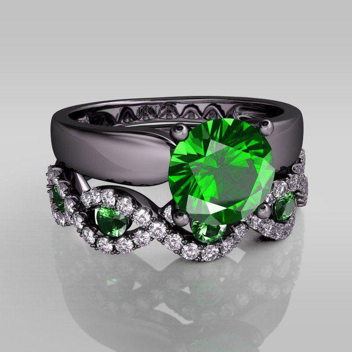 13CT Round Cut Emerald Rhodium Plated Sterling Silver Bridal Set