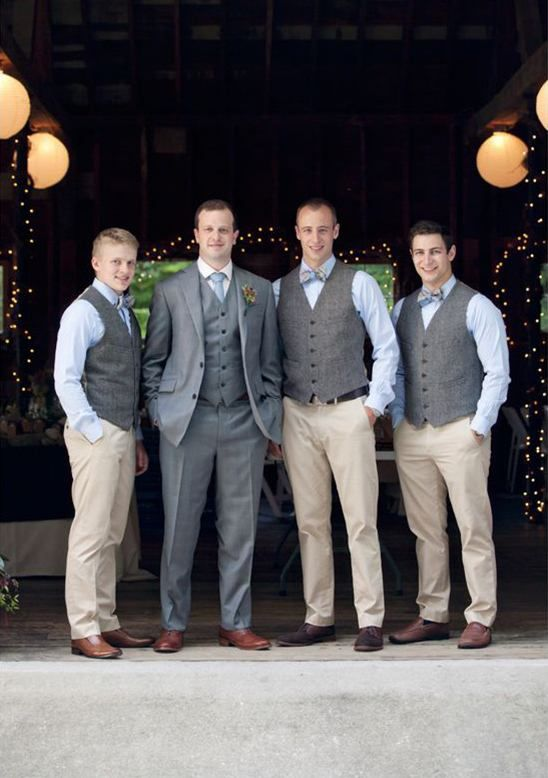 Grey tweed vests and khaki pants with light blue button down shirts with blue and purple plaid bow ties. Wedding style: rustic, stable; Wedding colors: green, grey and purple. Photo by Dreamlove Photography, check out more here.