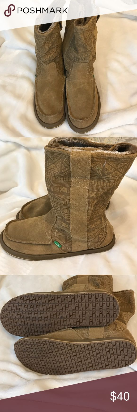 """New (no box) tan leather boots Moccasin tan leather boots approximately 10"""" from top to bottom Sanuk Shoes"""