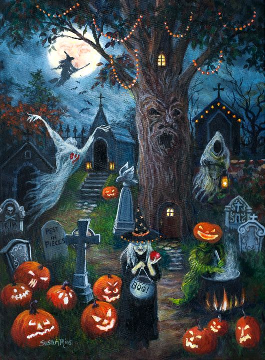New Halloween painting. Also available as a canvas print. Both are 16x12, at: www.susanriosdesigns.com