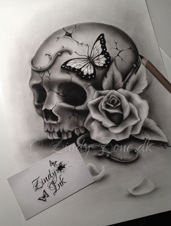 Beauty and Decay Skull Tattoo Design by Zindy S. D. Nielsen