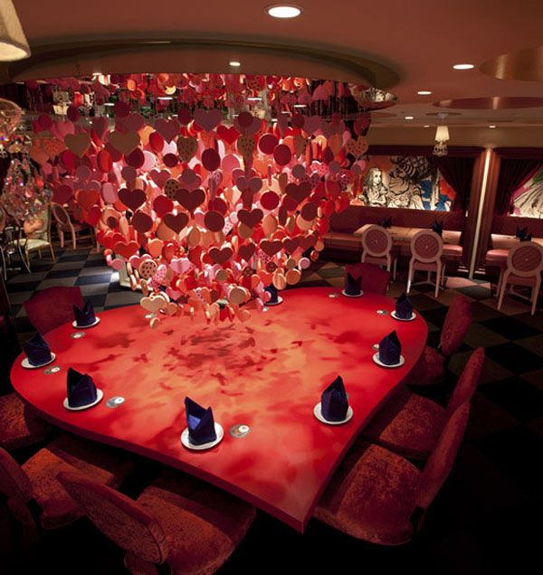 Alice in Wonderland Themed Restaurant - I want to eat at this heart table!
