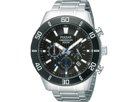 #Pulsar men's stainless steel sports #watch with #stopwatch, 24 hour hand, date and water resistant to 100 metres | #thomasjewellers