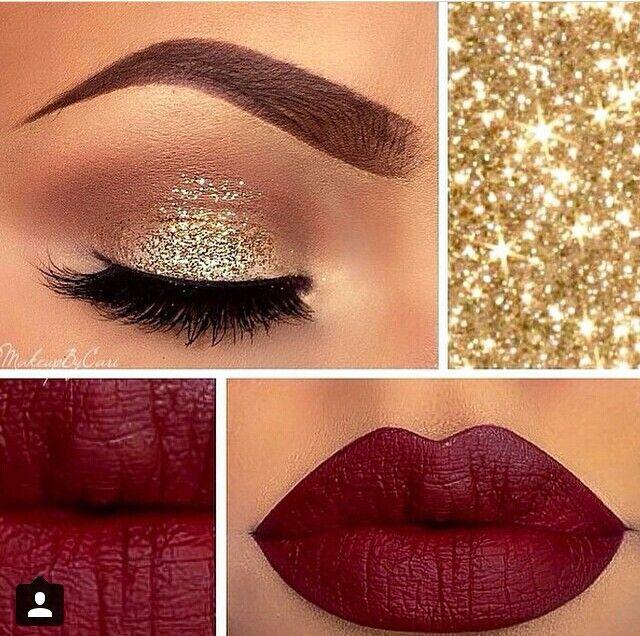 #makeup #golden #glitter eye shadow red maroon lips