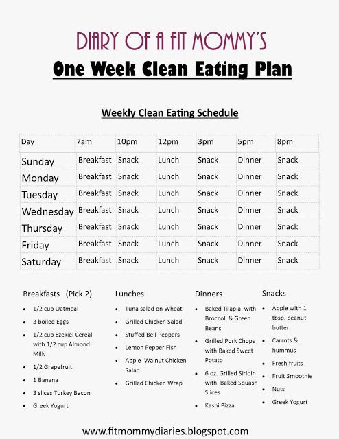Diary of a Fit Mommy's One Week Clean Eating Plan.   I LOVE this! It was always a thought in my head on how to break down the times to eat 5-6 meals a day. This makes it easier to see and adjust to my schedule