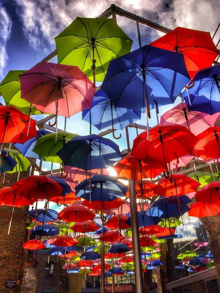 TO SEE : Umbrellas in Borough Market. London.  A sea of colors.  Who said that London is gray ?  #londonmoments