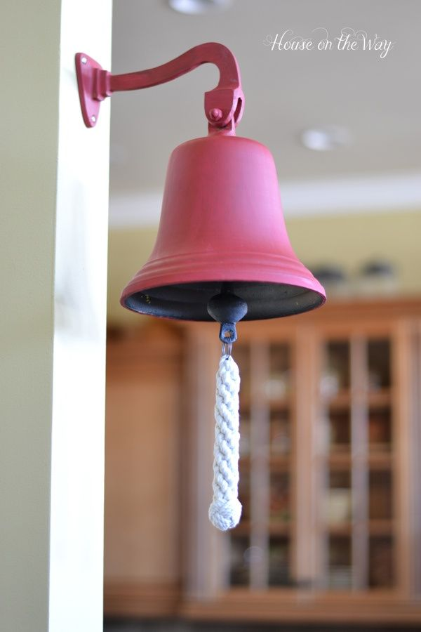 Red Dinner Bell - Painted with DecoArt's Americana Chalky Finish Paint in Rouge