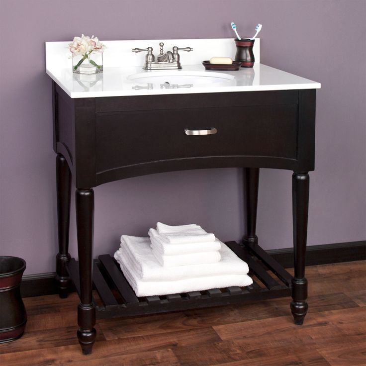 Photo Image  Black Currie Console Vanity with Undermount Basin Vanity only dimensions W x D x H Crystallized glass top