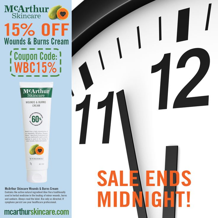 Last Day to Save 15% OFF Wounds & Burns Cream  Save 15% OFF McArthur Skincare's Wounds & Burns Cream in our online store by entering the coupon code: WBC15% at the final stage of the checkout. Not available in conjunction with any other offer. Sale offer expires Midnight (WST) Tuesday 7th February, 2017.  McArthur Skincare – Wounds & Burns Cream  Contains the active natural ingredient Aloe Vera traditionally used in herbal medicine in the healing of minor wounds, burns and sunburn.