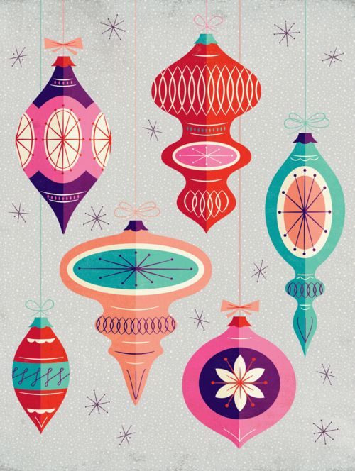 Modify Ink // Christmas ornaments art print. Customize the colors on Modify Ink.