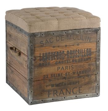 French Country Sac De Moulin Accent Wood Cube Ottoman