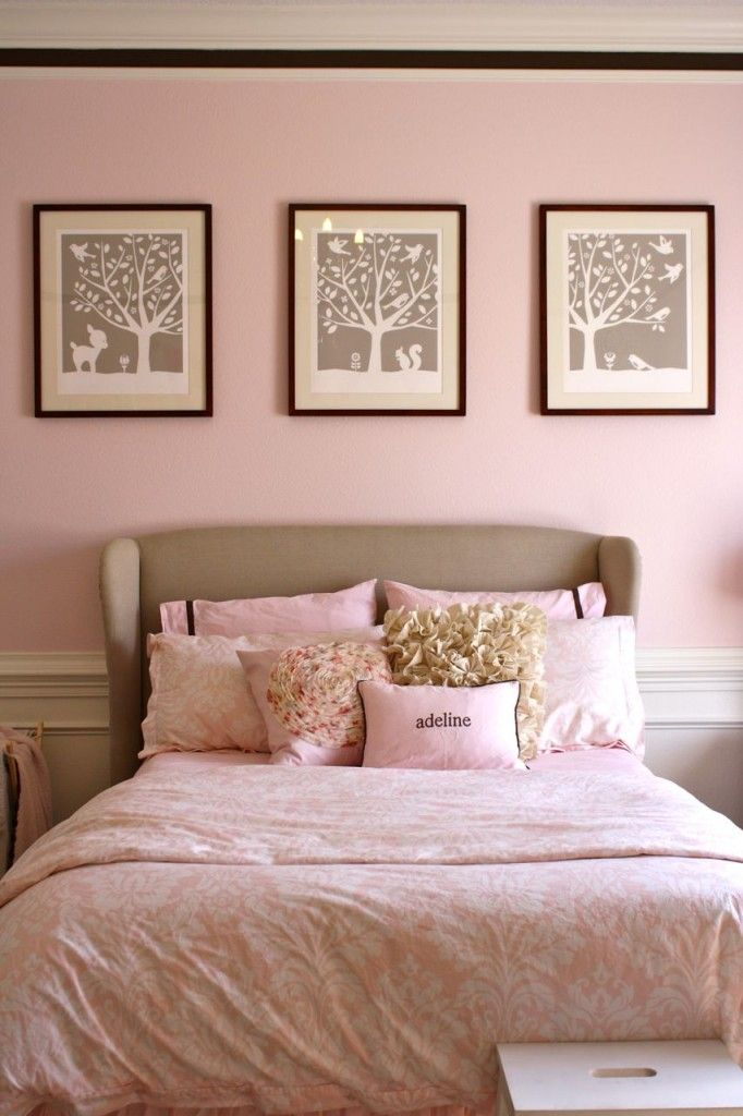 Pink big girl room - love the soft pink and beige accents!Wall Colors, Little Girls Room, Soft Pink, Pink Rooms, Toddlers Room, Pink Wall, Big Girl Rooms, Bedrooms, Big Girls Room