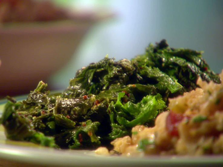 Simple Sauteed Mustard Greens recipe from Sunny Anderson via Food Network