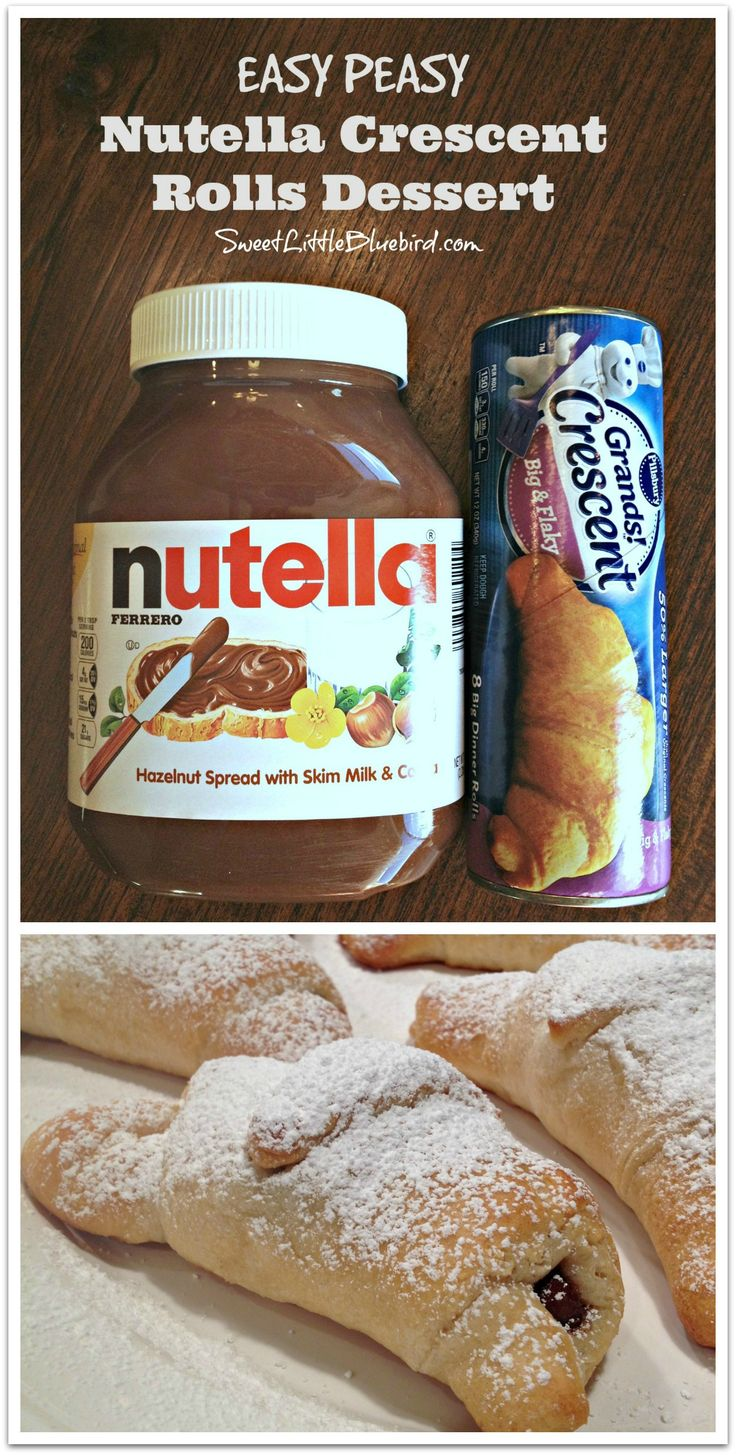 NUTELLA CRESCENT ROLLS DESSERT - Under 20 minutes to make, with only a 5 minute prep, this delicious dessert will have your Nutella fans cheering! |  SweetLittleBluebird.com