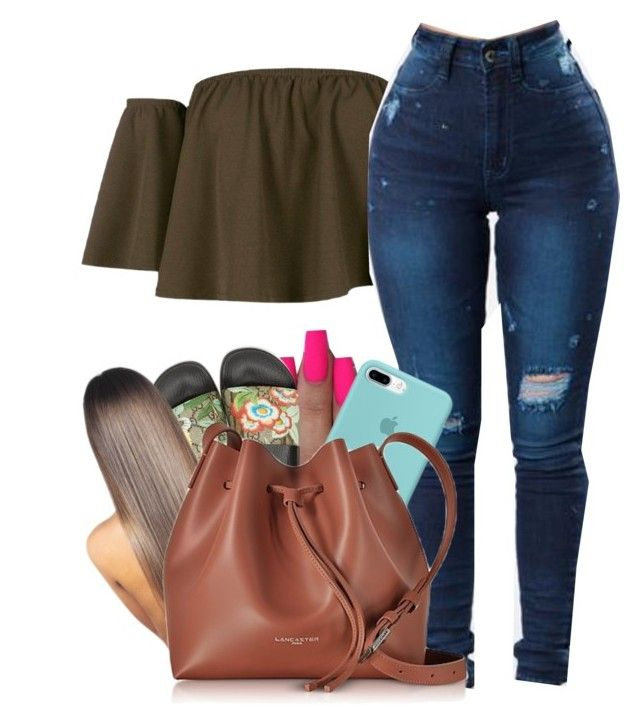 """Untitled #282"" by lanadabest ❤ liked on Polyvore featuring Boohoo, Gucci and Lancaster"