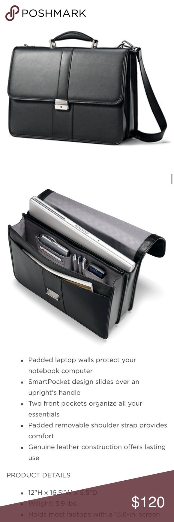Samsonite Classic Leather Flap Laptop Briefcase Samsonite Classic Genuine Leather Flap Laptop Briefcase. Get the perfect office-ready look with this classic and elegant, lightweight business laptop briefcase 💼 in black. Tags still attached, comes with shoulder strap and key!!! Samsonite Bags