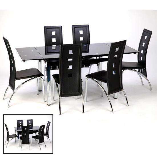 Sarah Extendable Dining Table In Black Glass And Chrome