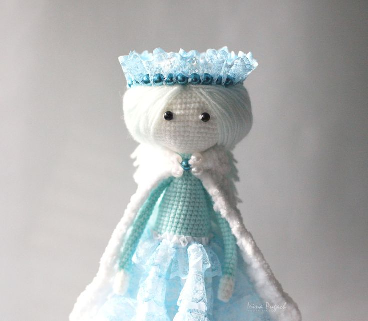 Winter girl doll. Crochet doll. Baby Girl doll. Crochet girl doll. Doll in a blue dress. Handmade doll. by IraPugachDesign on Etsy