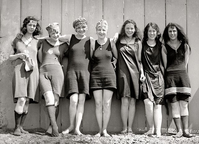 At the beach, 1920s