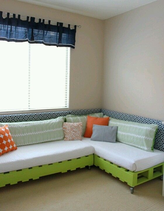 Pic inspiration...combines my twin bed couch idea and the pallet couch. This pic stated it used crates from Michaels.
