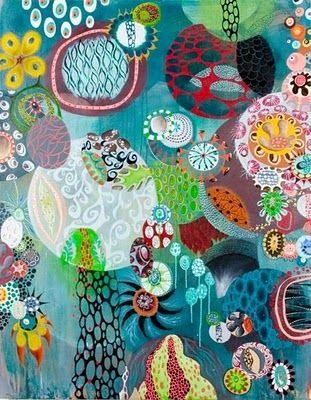 oh, what a world, what a world...: Melinda Hackett  Her work has color, layering, depth---as in foreground, background, incredible color, everything!