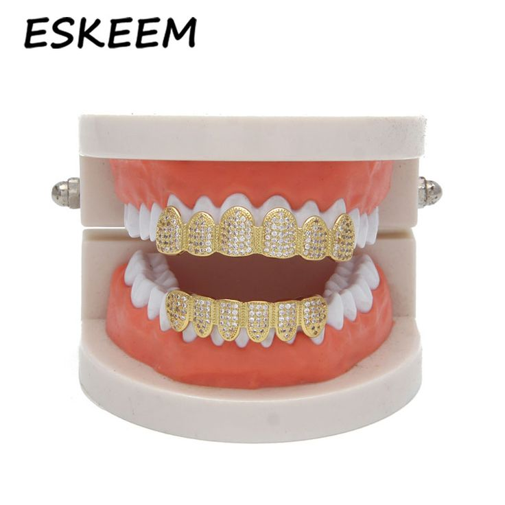 High Quality 18K Gold Plated Environment-Friendly Micro Pave Custom Grillz Teeth for Sale