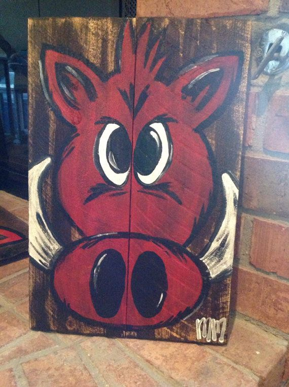 Small Hog on Wood by mtm004 on Etsy, $40.00