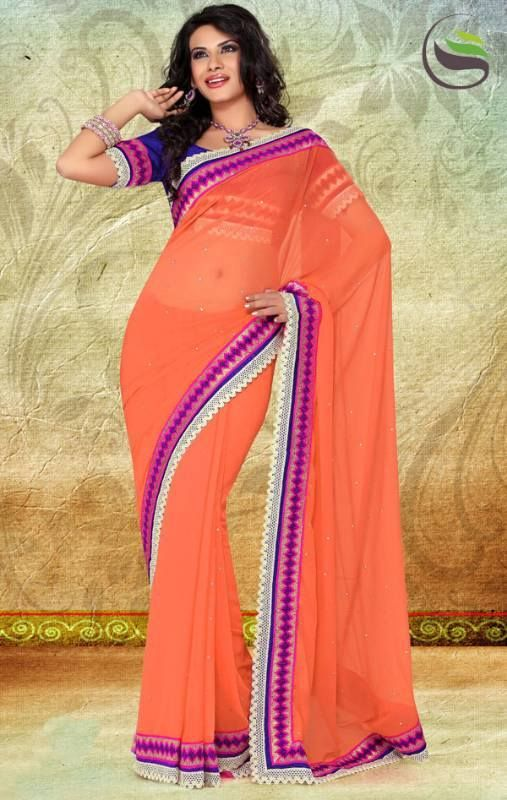 Peach faux chiffon saree with blouse   ORIGINAL PRICE: AUD$65  SALE PRICE: AUD $32.50  https://www.facebook.com/media/set/?set=a.605812792810587.1073741850.423983984326803&type=3#!/photo.php?fbid=605813322810534&set=a.605812792810587.1073741850.423983984326803&type=3&theater