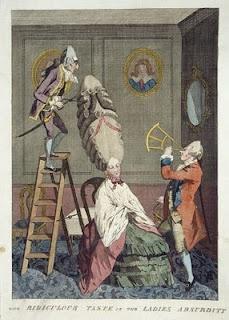 Ridiculous Taste, or, The Ladies' Absurdity, M. Darly, London, 1771  More info: http://twonerdyhistorygirls.blogspot.com/2010/10/dressing-fashionable-georgian-lady-1770.html