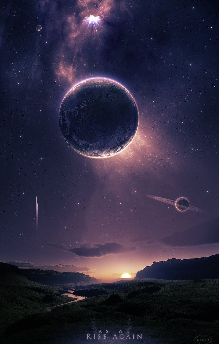 A beautiful fantasy or science fiction landscape, with planets in the sky above. This could be used as a background for a mysterious alien with psychic abilities or something of that nature.