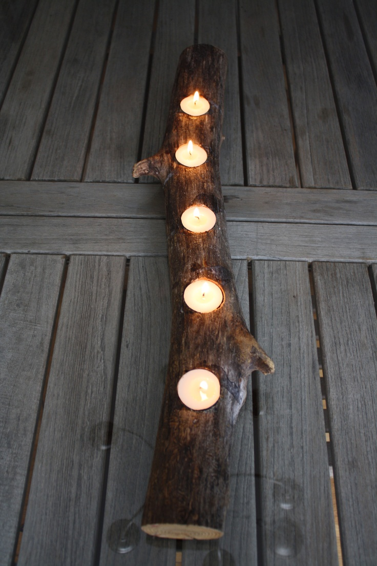 Creating a unique candle centerpiece from your backyard # DIY #candles #centerpieces #rustic #natural lighting