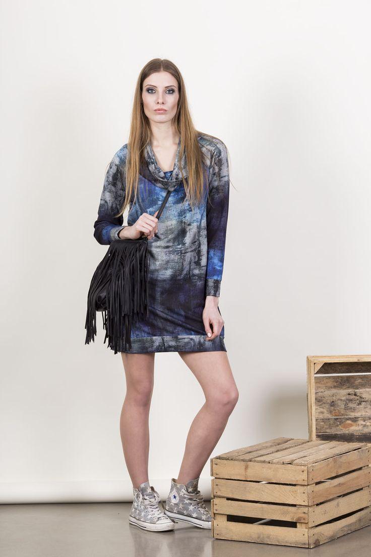 Mũso | Sukienka M3057 (kolor niebieski)