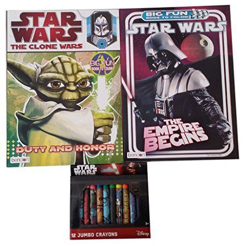 Star Wars Clone Wars and The Empire Begins Coloring Book with Star Wars Crayons * Want additional info? Click on the image.
