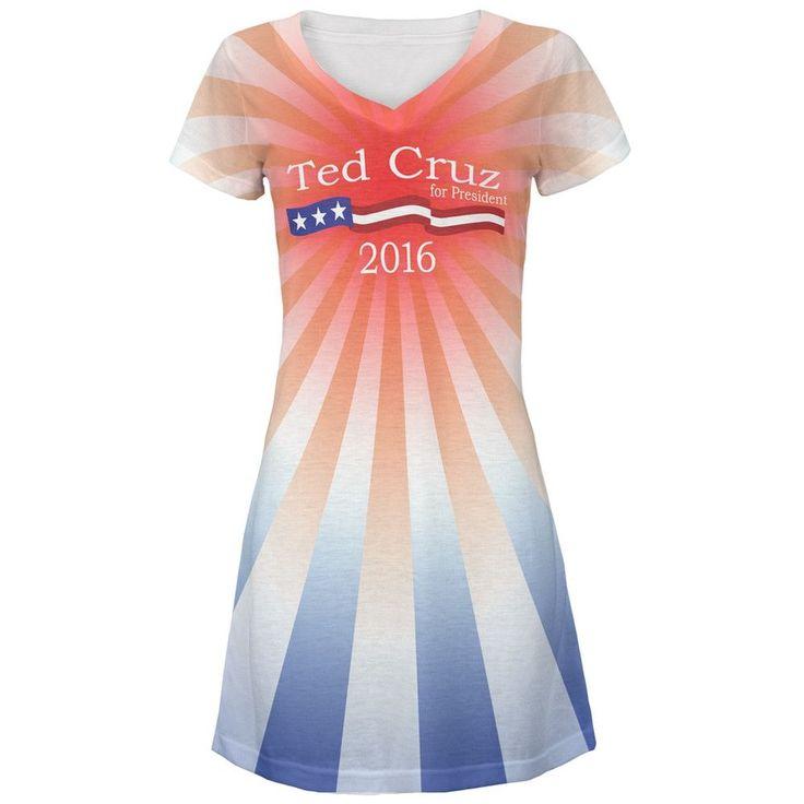 Election Ted Cruz President 2016 All Over Juniors V-Neck Dress