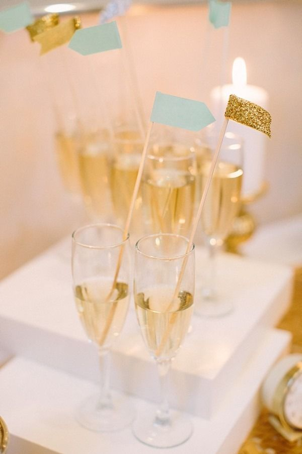 Cheers! #Champagne Drink Flags | See more on #SMP: http://www.stylemepretty.com/2012/12/31/atlanta-new-years-eve-wedding-shoot-at-georgian-terrace-hotel/  The Photography of Haley Sheffield