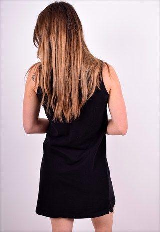 LACOSTE WOMENS VINTAGE POLO DRESS SIZE 12 BLACK 90'S