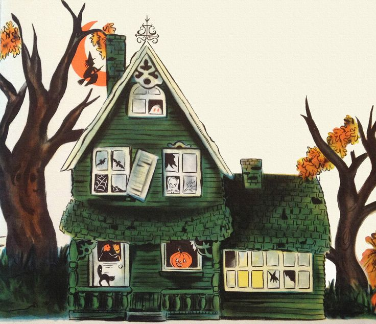 Haunted house vintage halloween thanksgiving images for Pinterest haunted house