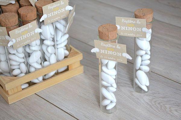 drages tube essai avec jolies tiquettes ange deco baptme pinterest - Decoration Tube A Essai Mariage