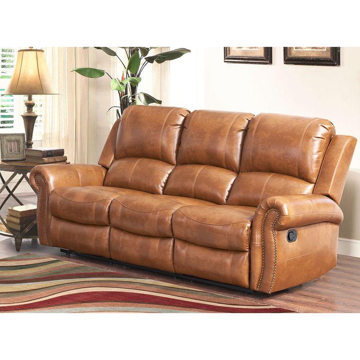 Abbyson Skyler Cognac Leather Reclining Sofa (Sofa), Brown