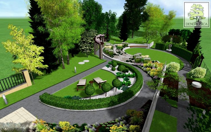 Excellent example of a contemporary garden design visualization in 3D for a sloping lot with varied distinct 'rooms'.