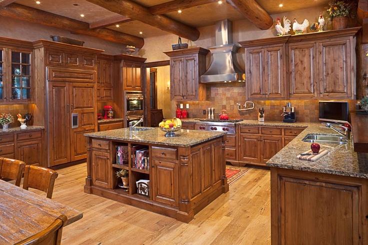 Nice Rustic Kitchen With Pine Floors + Granite Countertops | Getaway | Cabin |  Pinterest | Pine Flooring, Granite Countertops And Rustic Kitchen