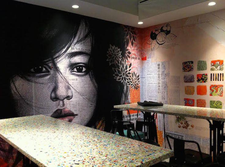 NEW YORK RESTO - bo bun au resto Bo CAPHE - fresque de Stéphanie Ledoux
