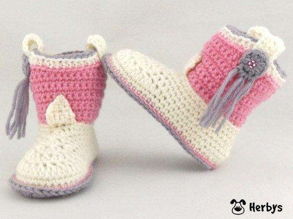 Anleitung - Babyschuhe häkeln - Häkelanleitung - Cowboy Boots  - Babystiefel - Babybooties - Geschenk - Taufe