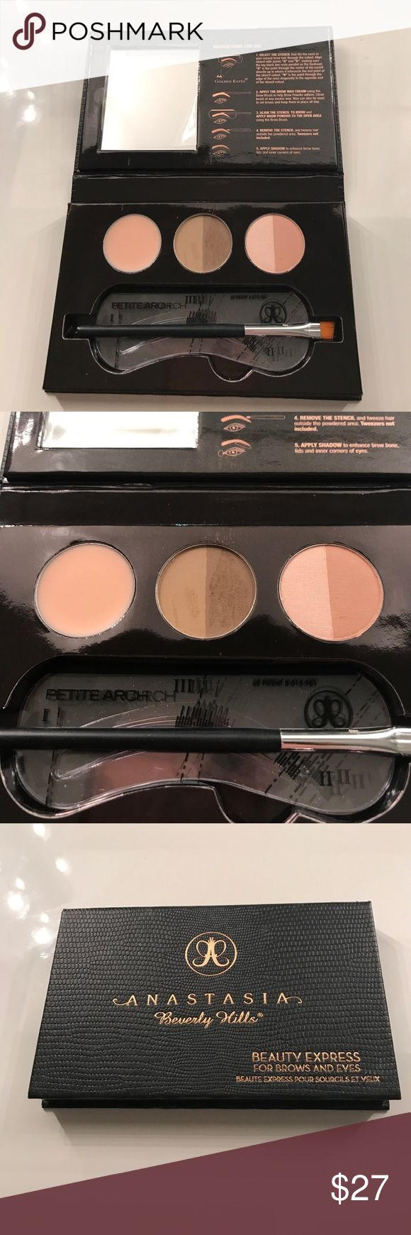 Anastasia beauty express for brows and eyes Usage shown. The shade is blonde. Anastasia Beverly Hills Makeup