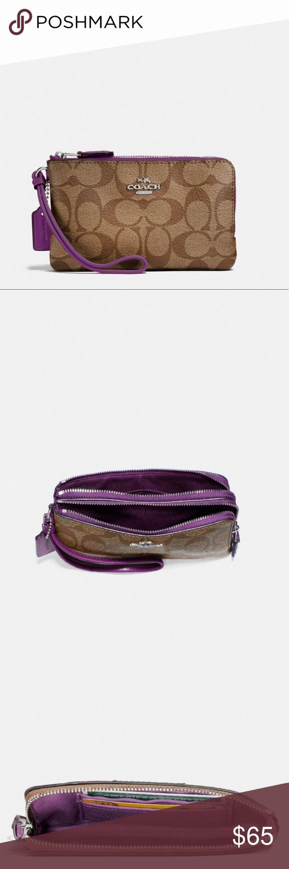 💜NWT Double Corner Zip Coach Wristlet💜 Brand New with tags! Real leather Perfect size with double zipper (6 inches length x 4 inches height) One side is an open pocket and the other zipper is an open pocket with 2 credit card inserts💳📱 Coach Bags Clutches & Wristlets