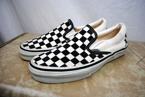 3ad3952c41 Vintage 80s Black White Checkered Vans Deck Skater Shoes - USA