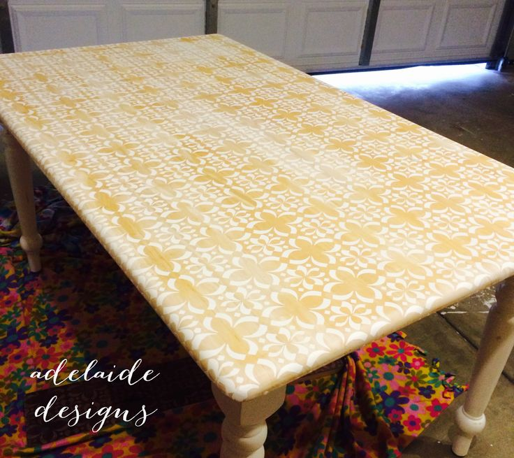 DIY Stencil Table - Check out the tutorial here.... http://www.makeitlively.blogspot.com/2014/07/diy-stencil-table.html