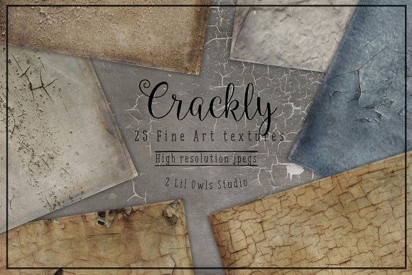 Crackly Fine Art Textures by 2 Lil Owls Studio on @creativemarket