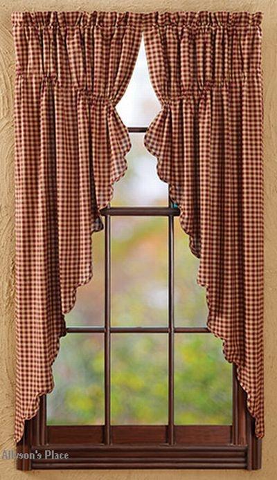 Burgundy Check Prairie Curtain Burgundy Check Curtain