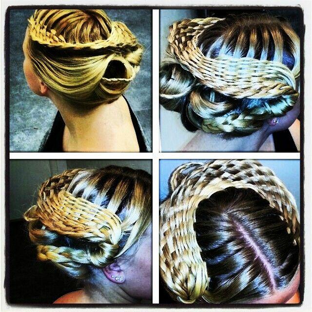 Basket- braided hair.